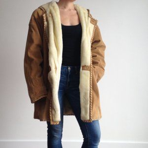 Smart Set - Suede Leather Coat, Faux Fur Lining